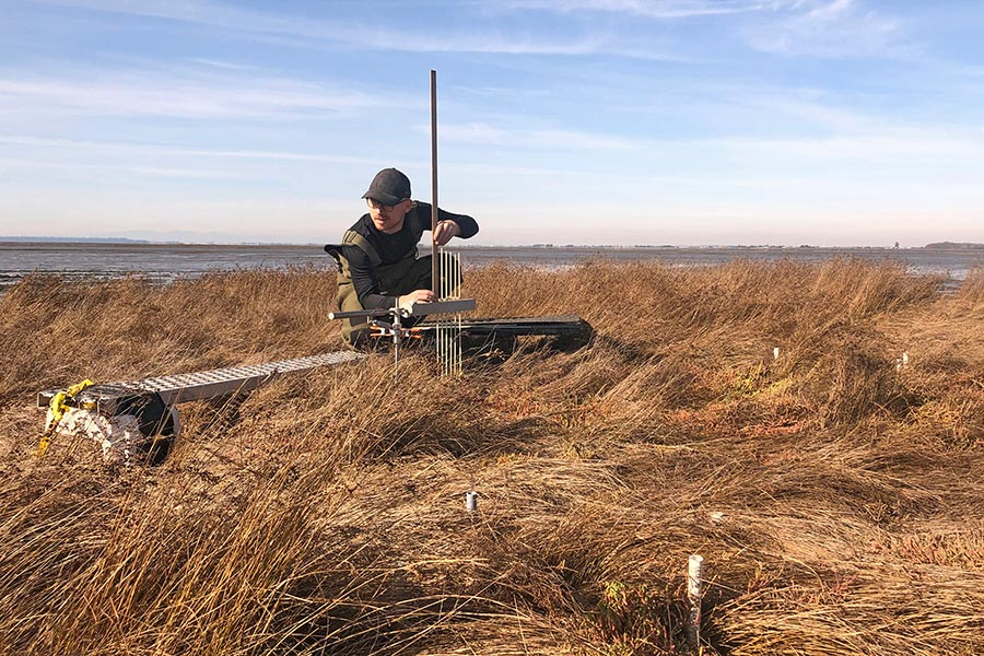 DUC technician conducting research in the Fraser River Delta